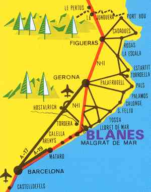 Map Of Spain Near Barcelona.Holiday Accommodaton At Blanes Near Barcelona Costa Brava Spain